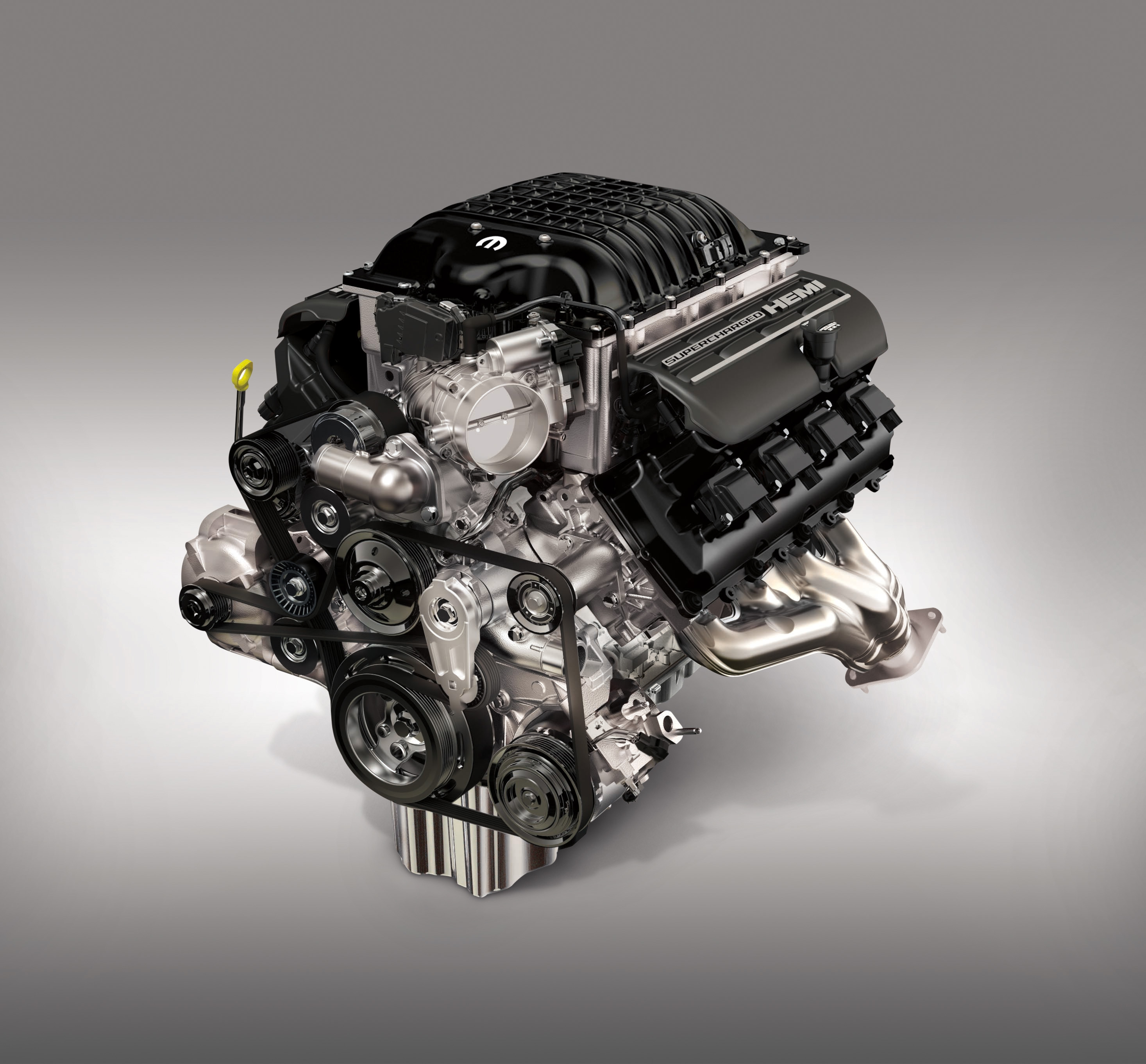 """Mopar is celebrating HEMI Day (4/26) by opening orders for the 1,000 horsepower """"Hellephant"""" 426 Supercharged Crate HEMI® Engine and Kit. Originally unveiled at the 2018 SEMA Show in Las Vegas last fall, the """"Hellephant"""" is a Mopar-first for a 1,000-horsepower crate engine kit offered by an Original Equipment Manufacturer (OEM), paired with a stunning 950 lb.-ft. of torque."""