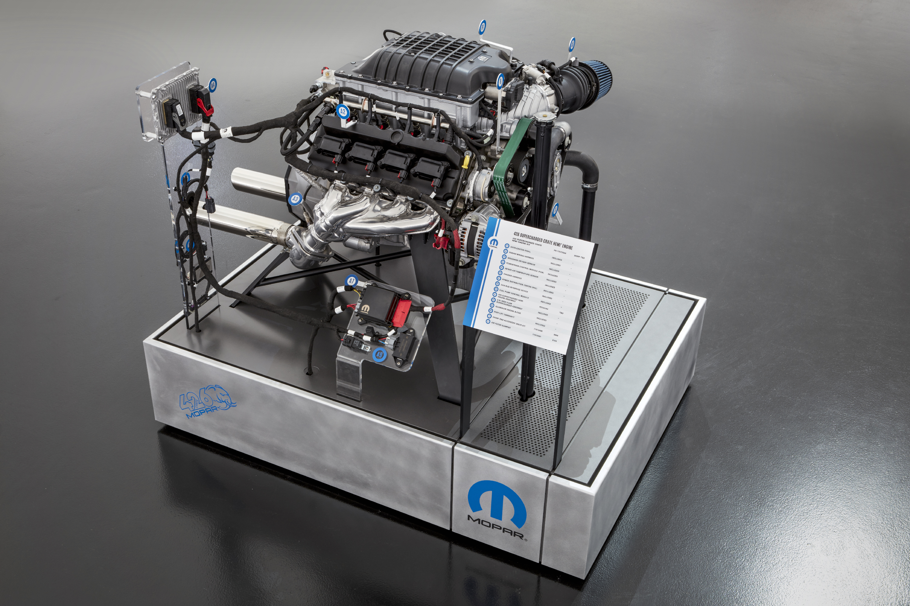 "The Mopar brand is stampeding into the 2018 Specialty Equipment Market Association (SEMA) Show with a brand-new HEMI®-engine-powered beast: the ""Hellephant"" 426 Supercharged Mopar Crate HEMI Engine, which turns the crank at a mammoth 1,000 horsepower and 950 lb.-ft. of torque."