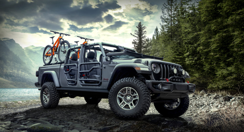 The Mopar-modified all-new 2020 Jeep® Gladiator Rubicon, on display at the 2018 Los Angeles Auto Show, highlights the open-air personalization potential and more than 200 parts and accessories available to enhance the most capable midsize truck ever.